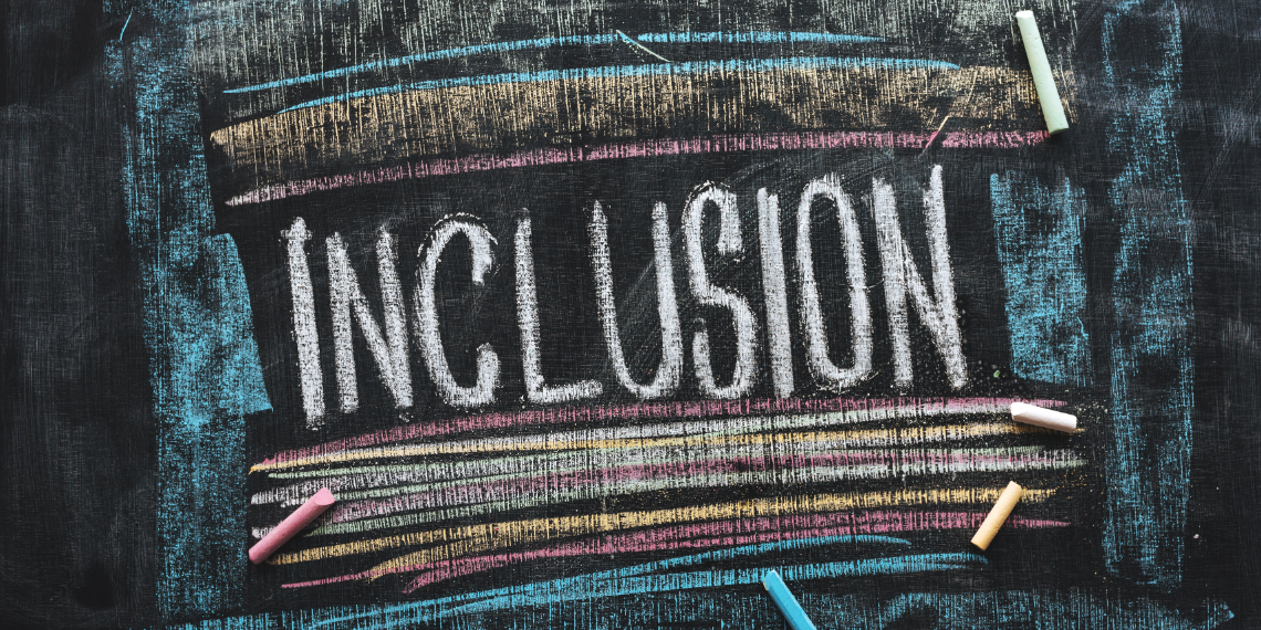 The word Inclusions on a blackboard