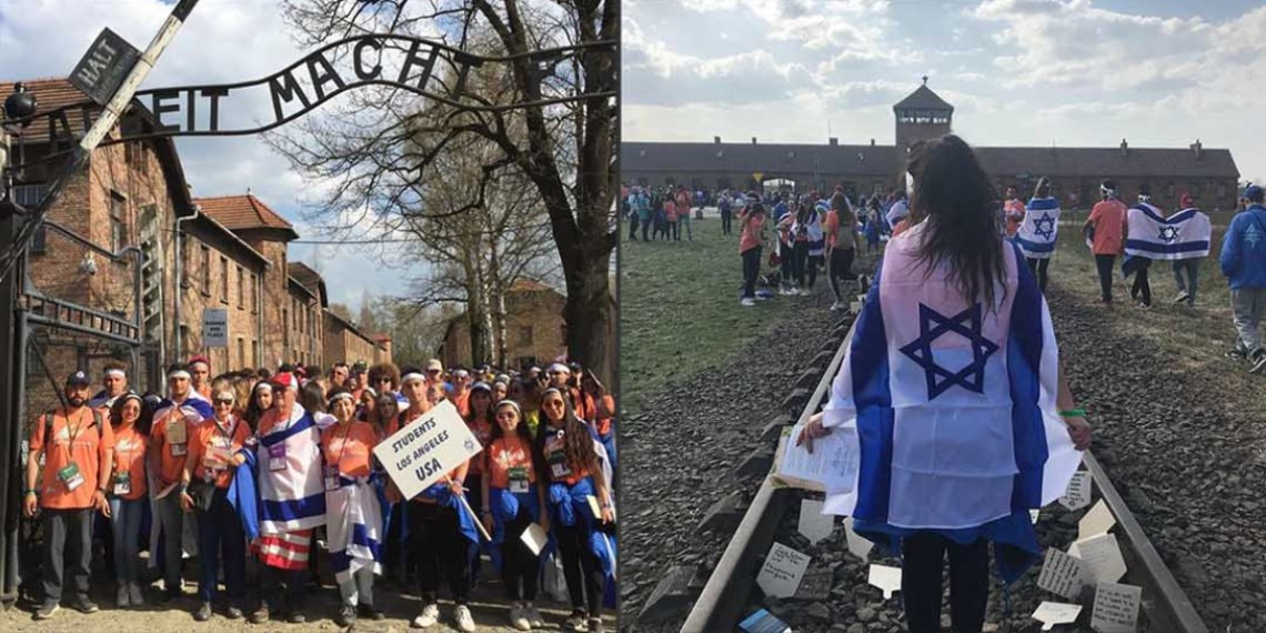 March of the Living Teens exiting Auschwitz
