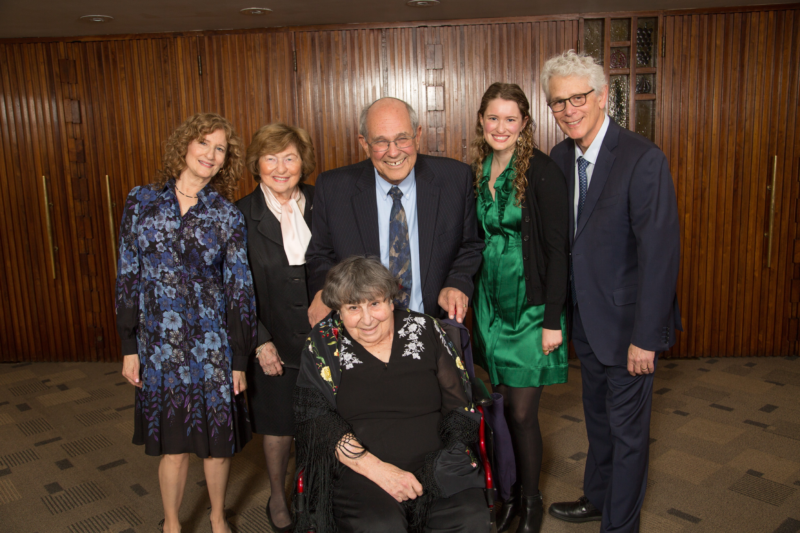 BJE Gala Co-Chair Susan Jacoby Stern with Lela and Norman Jacoby, Honorees Marlynn and Elliot Dorff, daughter Anna Stern and husband Joel Stern