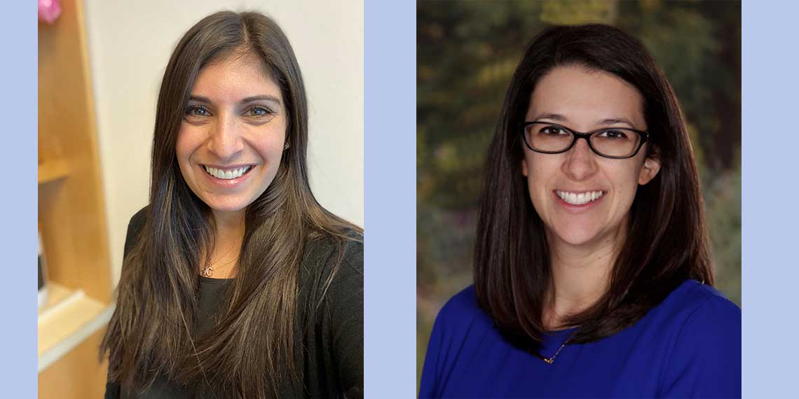 BJE Experiential Educator Michal Kress, left, and Early Childhood Education Specialist Carly Rosenstein, right