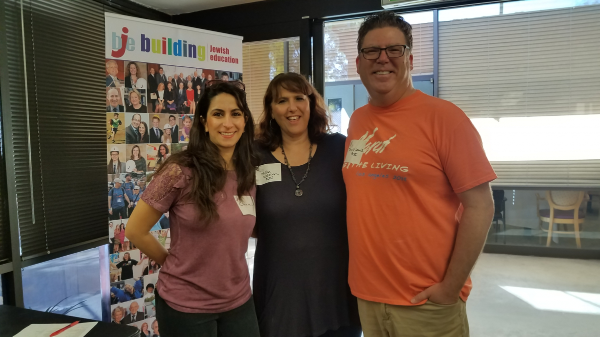 Day of Service Committee member Elham Makabi, BJE staff Millie Wexler and David Lewis