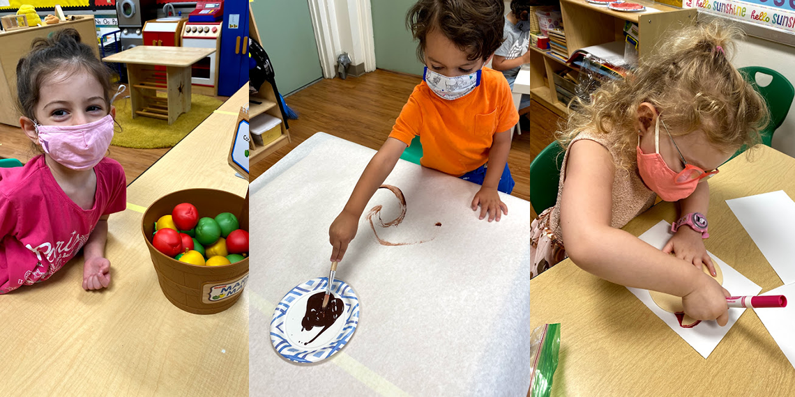 Three photos of Early Childhood children with masks on in class