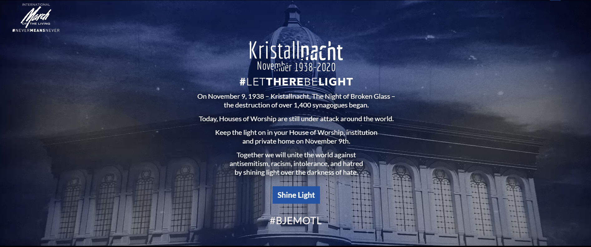Image of Kristallnacht and the words Let There Be Light