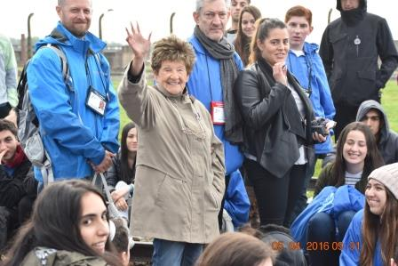 Sidonia in Poland waving with Maya Aharon on March of the Living