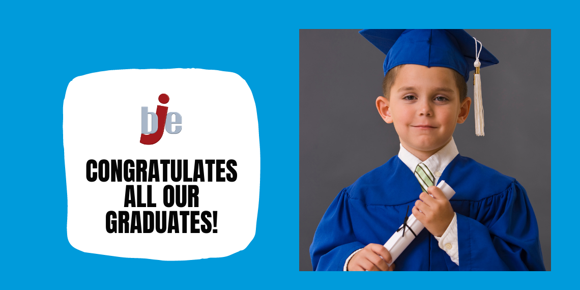 BJE congratulates all graduates and young boy with cap and gown