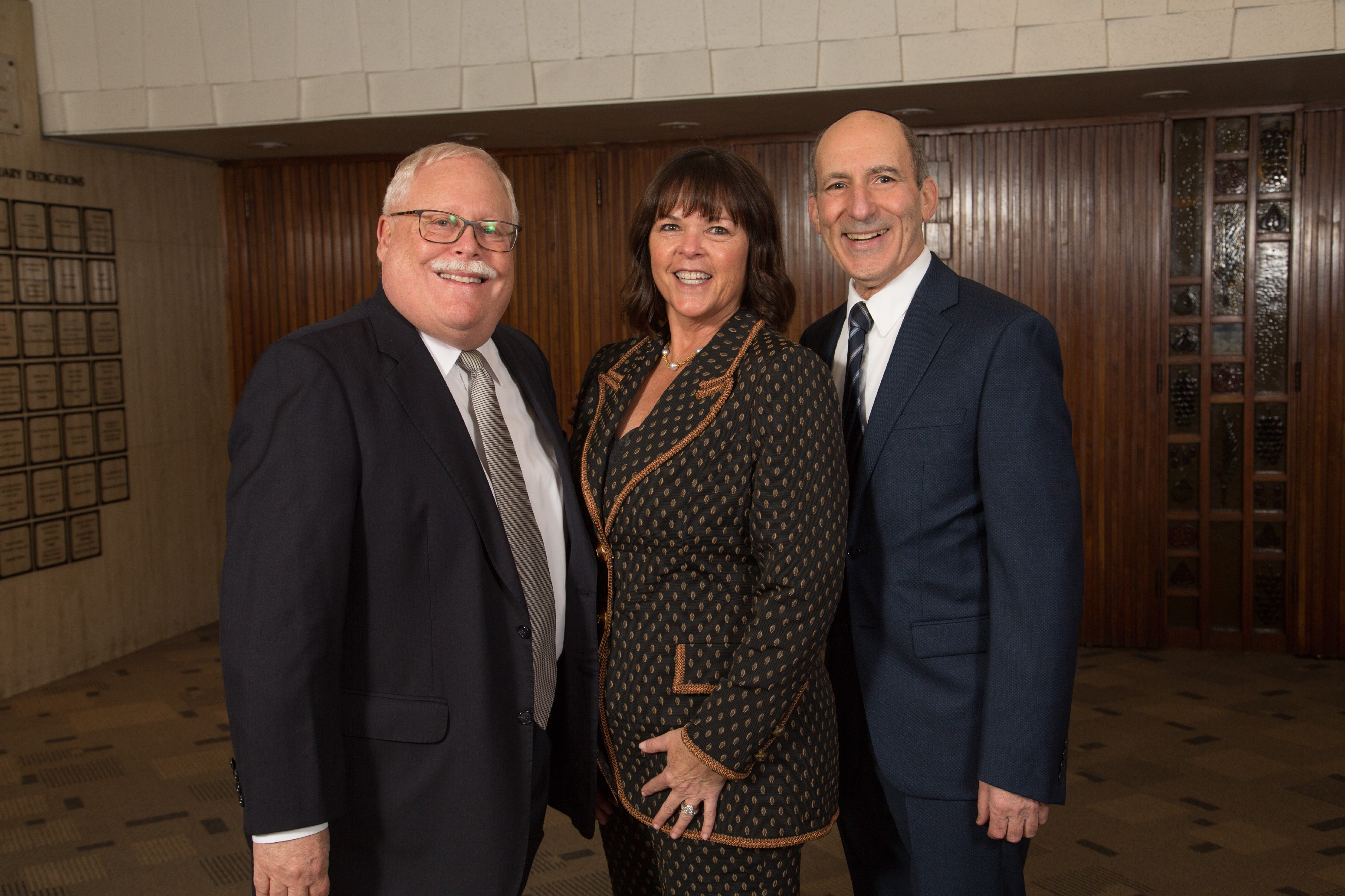 BJE Board President Mark Berns, Honoree Cheryl Davidson and BJE Executive Director Dr. Gil Graff