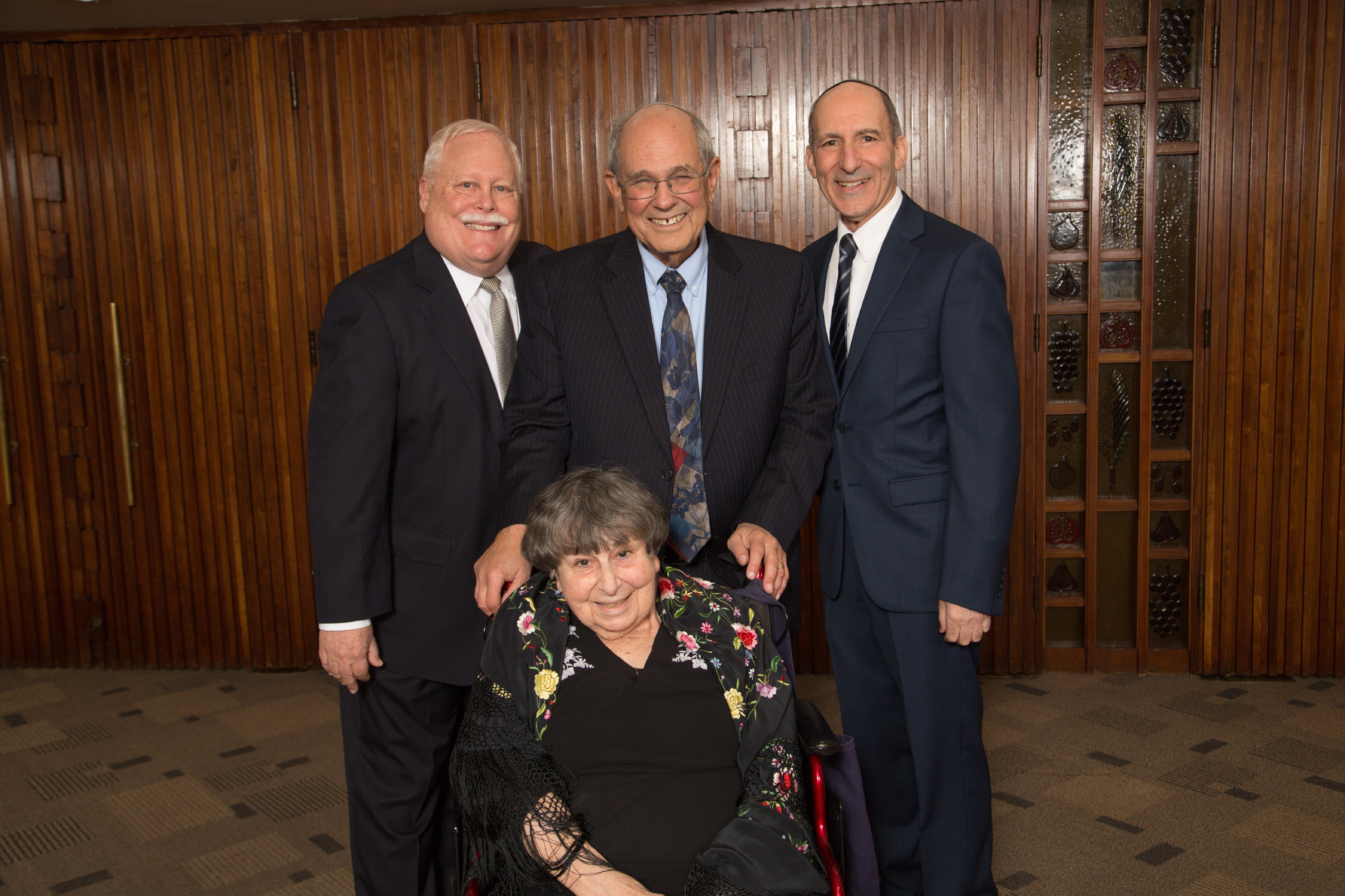 BJE Board President Mark Berns, Honorees Marlynn and Rabbi Elliot Dorff and BJE Executive Director Dr. Gil Graff