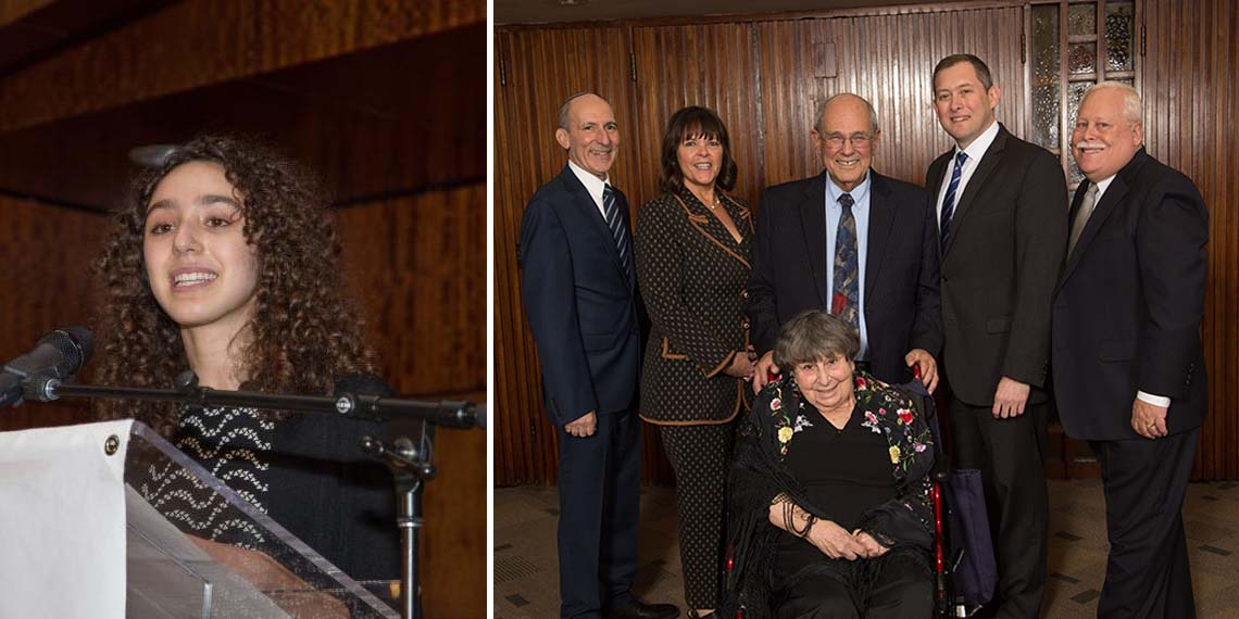 Left to right: BJE Teen Service Corps participant Ayla Kattler; BJE Executive Director Dr. Gil Graff, Honorees Cheryl Weisberg Davidson, Marlynn and Rabbi Elliot Dorff, Craig Rutenberg and BJE President Mark Berns