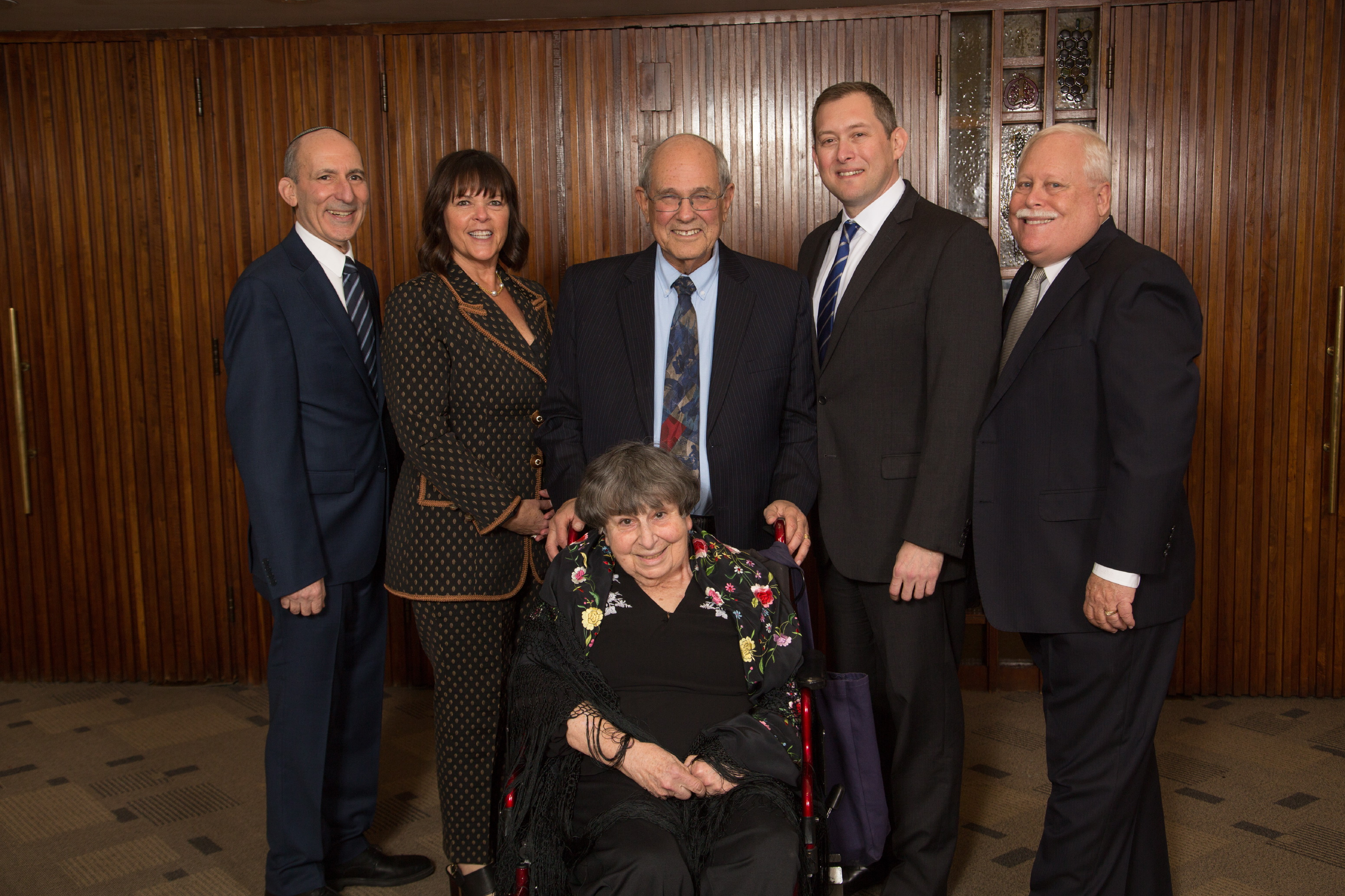 Left to Right: BJE Executive Director Dr. Gil Graff, Honorees Cheryl Davidson, Marlynn Dorff, Rabbi Elliot Dorff, Craig Rutenberg and BJE President Mark Berns