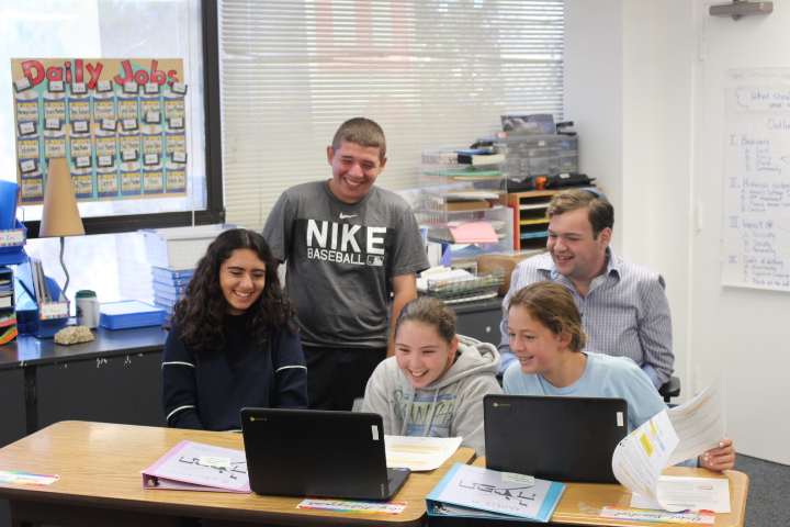 Stephen S Wise RS students having fun learning Hebrew