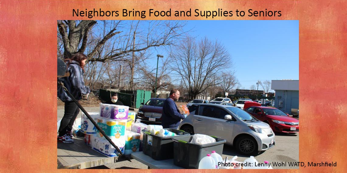 Neighbors bring food and supplies to Seniors