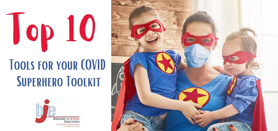 Superhero kids and mom with their Coronavirus Masks